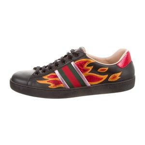 Auth Gucci Ace Flame UK 11 Black Leather Sneakers